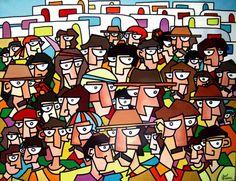 Gabi Jimenez: Saintes Maries de la Mer 2 – The People, 2000 acrylic on canvas, 146 x 114 cm