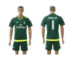 15-16 Real Madrid 1 casillas green goalkeeper Jerseys