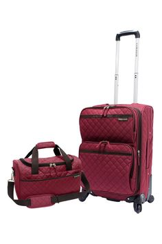 US Traveler Two-Piece Quilted Carry-On Expandable Set In Maroon