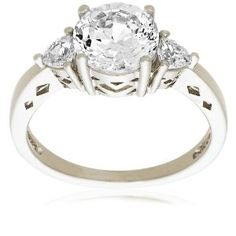 "Platinum Plated Sterling Silver ""100 Facets Collection"" Cubic Zirconia Three-Stone Ring"