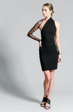 Black Party Dress / One Shoulder Dress / Unique by marcellamoda