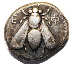 about Ancient Ionia Ephesos AR Tetradrachm Bee / Stag Right - Asia Minor From Ephesus 39 BC!From Ephesus 39 BC! Antique Coins, Old Coins, Rare Coins, Buzzy Bee, I Love Bees, Bee Skep, Bee Art, Save The Bees, Ancient Jewelry