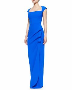 Cap-Sleeve Ruffle-Side Column Gown, Blue by La Petite Robe by Chiara Boni at Neiman Marcus.