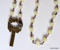 Vintage Key on New Jade Rosary Chain Repurposed by RueRueOriginals