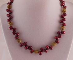 Pearl Necklace Gold Necklace Pink Necklace by Rumis on Etsy, $35.00