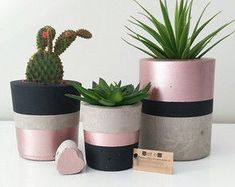 Ran on the lines – That is how woman Leinen styles properly - All For Garden Painted Plant Pots, Painted Flower Pots, Cement Art, Concrete Crafts, House Plants Decor, Plant Decor, Diy Concrete Planters, Flower Pot Design, Diy And Crafts
