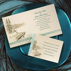 I think this looks more like a business card than wedding invitation; but the details of the dock, the lake and the woods give me some ideas. I also like the decorated strip, but think I like it better on the side rather than at the bottom. Off the Dock - Invitation