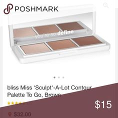 bliss Miss 'Sculpt'-A-Lot Contour Palette To Go, Brand new in box the perfect contour palette  From our spa to your skin you've put your trust in us to care for your skin with our legendary spa services and world famous skin care products. Now we're excited to introduce the next step to achieving complexion perfection. We like to call it tinted skincare. We've poured our innovative spa ingredients and advanced technologies into our tinted skincare products, so you'll know they're good for…