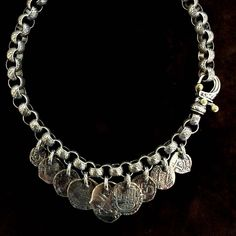 "Spainish Medallions on Engraved Laurel Leaf Chain with ""Hook"" Clasp. Handmade in Sterling Silver and 18 k Gold by Bowman Originals, Downtown Sarasota, FL. Call or text: 941-302-9594.  #spain #medallions #laurel #engraved #handmade #handmadejewelry #silver #silverjewelry #santefe #scottsdale #losangeles #la #nyc #newyork #austin #rocknroll #bespoke #ootd #jotd #sarasota #sarasotajewelry #bowmanoriginals #hard #workinghard #art #artjewelry #jewelry #designerjewelry"