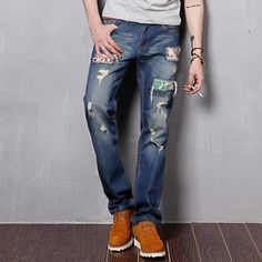 Find More Information about 2014 New Famous Brand Mens Straight Designer True Jeans Ripped Jeans For Men Street Style Denim Pants Top Quality Trousers,High Quality jean pant,China jean brand jeans Suppliers, Cheap jeans spandex from Men's Tribe Co.,Ltd. on Aliexpress.com