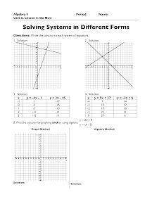 The Exponential Curve: Algebra 1: Systems of Equations