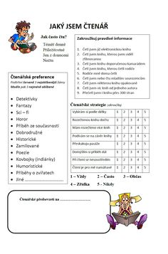 Jaký jsem čtenář Kids Education, School Projects, Classroom Management, Worksheets, Homeschool, Teacher, Activities, Reading, Books