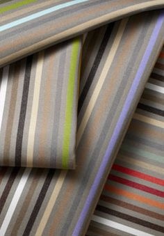 indoor & outdoor fabrics : Sunbrella Stripes New stripes ideal for indoor and outdoor use and easy to coordinate. Twelve new items: choose a classic, timeless stripe with its play on light and dark (Riviera) or a lively stripe awash in color (Confetti)