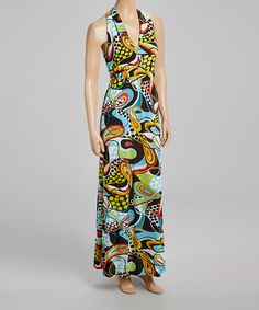 Look what I found on #zulily! Lime Green Dot Abstract V-Neck Maxi Dress #zulilyfinds