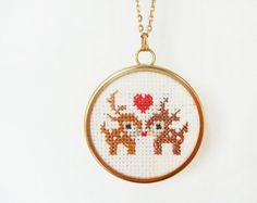 Cross stitched deer pendant