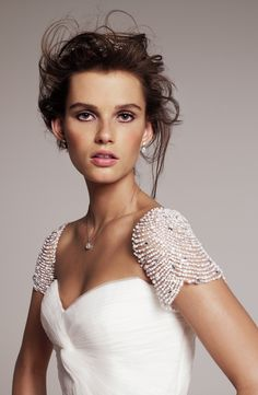 // Sparkly sleeves on 'Laurel' from Roses by Reem Acra, exclusively at Nordstrom Wedding Suite