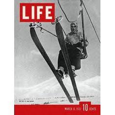 Skiing is life, everything else is just waiting. Life Magazine March 1937 : Cover - Skier on ski lift at Sun . Ski Vintage, Vintage Ski Posters, Vintage Travel, Vintage Winter, Wallpaper Cross, Sun Valley Ski Resort, Mode Au Ski, Look Magazine, Time Magazine