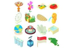Singapore icons set, cartoon style. Objects. $5.00
