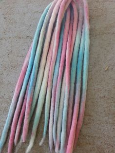 Cotton Candy Tie Dye Aqua Pink Wool Dreads Boho by PixiePassions, $5.00