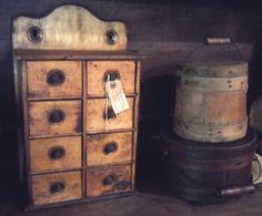 Spice box, small sugar bucket(firkin), and bail handled pantry box.