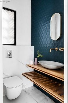 Dreaming of a luxury or designer bathroom? We've gathered together plenty of gorgeous bathroom ideas for small or large budgets, including baths, showers, sinks and basins, plus master bathroom decor suggestions. Contemporary Bathroom Designs, Modern Toilet Design, Contemporary Bathroom Inspiration, Toilet Tiles Design, Small Toilet Design, Contemporary Interior Design, Contemporary Bedroom, Contemporary Style, Modern Interior