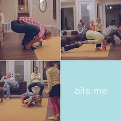 bite me: you take paper bags and cut the tops off at different heights. Without using your hands you have to pick the bag up with your mouth and move it to the table. It took some serious yoga moves!