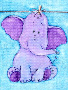 Cuadro bebe elefante en tonos morados de peluche sobre fondo azul, pintado a mano con pintura y acuarela, para la decoración de la habitación o cuarto de los más pequeños de la casa