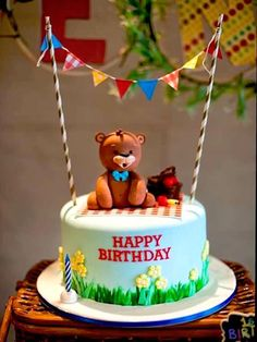 Cake from a Teddy Bear Picnic Birthday Party on Kara's Party Ideas | KarasPartyIdeas.com (8)