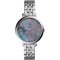 Fossil Women's Dress Jacqueline Stainless Steel Five-Link Bracelet... (374.575 COP) ❤ liked on Polyvore featuring jewelry, watches, silver, stainless steel jewelry, stainless steel bracelet watch, watch bracelet, tri color jewelry and water resistant watches