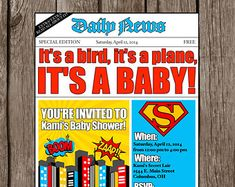 PRINTABLE Newspaper Boys Superhero Baby Shower Invitation. YOU PRINT.