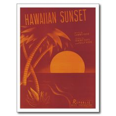 Hawaiian Sunset Vintage Song Sheet Music Art Postcards #Postcards #Song #Gifts #Sunset