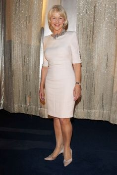 Helen Mirren Style Highs ~ beautiful ivory knee-length sheath dress with elbow length sleeves.  High jewel neckline.  Worn with cream colored kitten heels.  The 'wow' is a gorgeous diamond collar necklace worn at the throat.