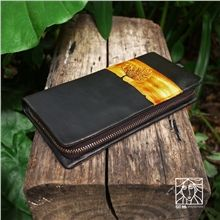 Dyeing Leather Carving Twilight Film Sunset Long Zip Iphone Purses Handmade Leather Wallet