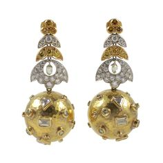 Yellow and White Gold Diamond Ball Earrings by Demner | From a unique collection of vintage drop earrings at http://www.1stdibs.com/jewelry/earrings/drop-earrings/