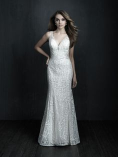 Shop Allure Couture bridal gown here! This gown features a sheath silhouette, v-neckline, illusion accents, a low back with buttons running down the spine, and beaded accents. Sheath Wedding Gown, V Neck Wedding Dress, Bridal Wedding Dresses, Bridesmaid Dresses, Allure Couture, How To Dress For A Wedding, Bridal Collection, Allure Bridals, Illusion