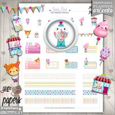 Candy Stickers, Planner Stickers, Candy Shop Stickers, Kawaii Stickers, Cute Stickers, Planner Accessories, Erin Condren, Sweet