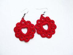 Red Heart Crochet Earrings Dangle Earrings by accessoriesbynez,
