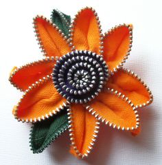 Orange and Purple Floral Brooch / Zipper Pin by by ZipPinning, $26.00