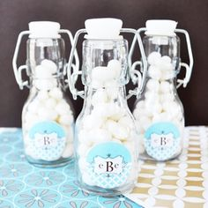 Slip a note inside these personalized baby shower mini glass bottles and give as baby announcements or baby shower favors. Diy Wedding Supplies, Wedding Supplies Wholesale, Diy Party Supplies, Wedding Ideas, Favour Jars, Bachelorette Party Decorations, Party Favors, Bachelorette Parties, Mini Glass Bottles