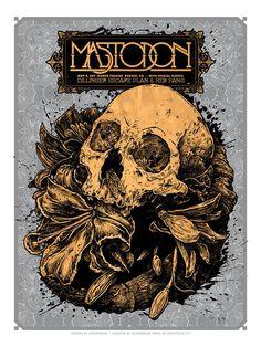 """ARTE/ """"Mastodon"""" Angryblue. Desde Louisiana, Justin Kamerer es el cerebro detrás de Angryblue, un ilustrador talentoso que ha trabajado para múltiples bandas haciendo posters. Su iconografía se basa en cultura pop, punk rock, cráneos y esoterismo."""