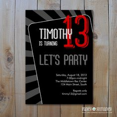 Teen Boy's Birthday Invitation / Let's Party by fancyshmancynotes, $15.00