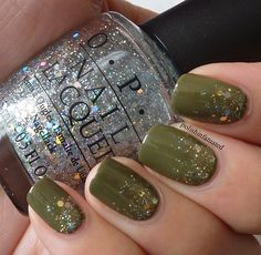 """""""After applying two coats of Uh-oh roll down the window I took OPI Servin' up sparkle and applied a glitter gradient. After that, I used Essence Make it golden to add a touch of gold"""""""