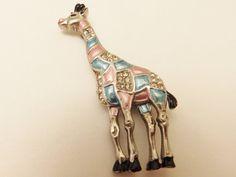 Vintage Silver Tone Enamel Giraffe Brooch by TheJewelryCabinet