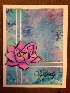 Lotus sympathy card- Brusho watercolor background, waffle flower lotus stamp