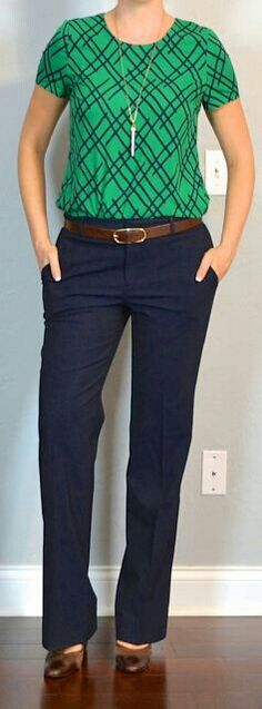 Love the navy color of the pants and the color combo of the outfit. I'd choose a different sleeve on the shirt though.