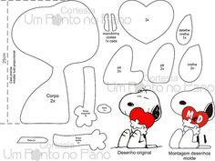 Snoopy feito de feltro para o dia dos namorados