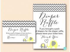 Yellow Elephant Baby Shower Diaper Raffle by MagicalPrintable