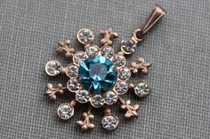 Antique Star Burst Paste Pendant / Aqua and by TheHiddenChamber, $26.00