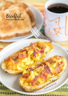 Breakfast Potato Skins - potato skins loaded with eggs, bacon and cheddar cheese. Can make the potatoes ahead of time and finish off in the morning for a quick breakfast. Everyone LOVES these! Can customize with your favorite toppings - sour cream, salsa, green onions. The possibilities are endless!