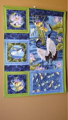 Asian Wallhanging, Quilted Wallhanging,  Embellished Art Quilt,  Cranes and Dragonflies Quilt, Blue and Green Wallhanging, Heirloom Quality